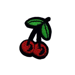 Palatable Green Vines Red Cherries Fruit Embroidery Patch