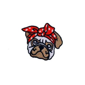 Cute 80's Red Bandanna Puppy Dog Embroidery Patch