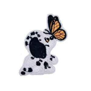 Cute Dalmatian Puppy Dog and Butterfly Embroidery Patch