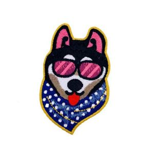 Funky Sunglasses Bandanna Husky Dog Embroidery Patch