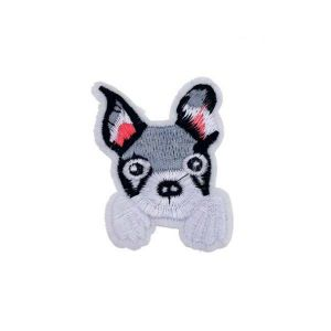 Cute Grey Schnauzer Puppy Dog Embroidery Patch