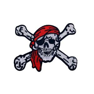 Evil Laughing Dead Red Bandanna Skull Embroidery Patch