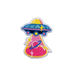 Alien Spaceship Beaming Planet Saturn Embroidery Patch