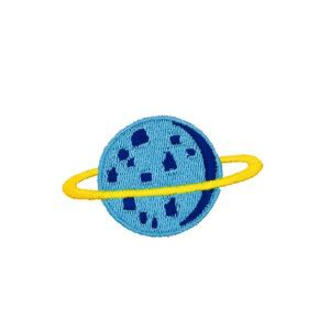 Dazzling Blue Colored Saturn Planet Embroidery Patch