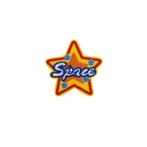 Space Captioned Golden Star Embroidery Patch
