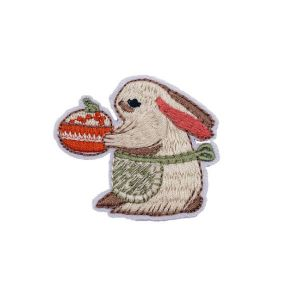 Alluring Green Apron Bunny Rabbit Embroidery Patch