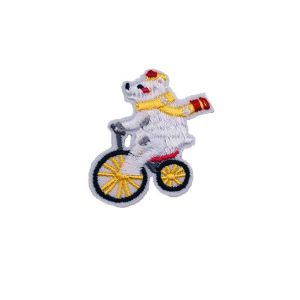 White Bear Riding Bicycle Embroidery Patch