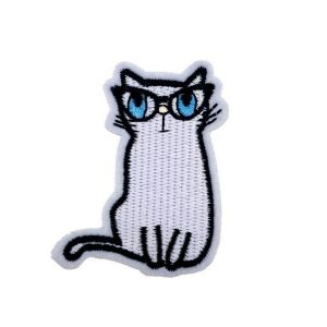 Cute Grey Kitten Cat Embroidery Patch