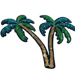 Exotic Tropical Beach Palm Trees Embroidery Patch