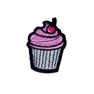 Divine Pink Cream Red Cherry Cupcake Embroidery Patch