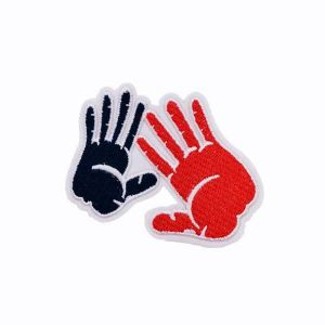 Black and Red Hands Print Embroidery Patch