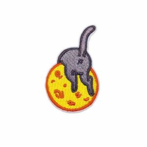 Cute Kitty Cat Playing on Cheese Ball Embroidery Patch