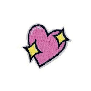 Pink Sparkling and Shining Heart Embroidery Patch