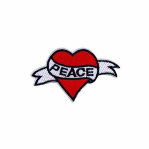 Enchanting Peace Engraved Banner Heart Embroidery Patch