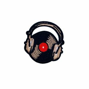 Captivating Brown Headphone Record Embroidery Patch