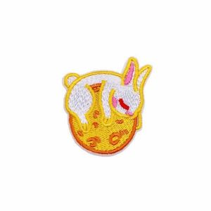 Cute Little White Bunny Rabbit on Ball Embroidery Patch