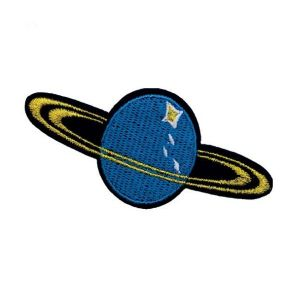 Blue Glistening Saturn Planet Embroidery Patch