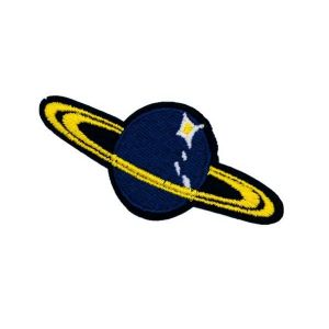 Blue Saturn Planet and Yellow Rings Embroidery Patch