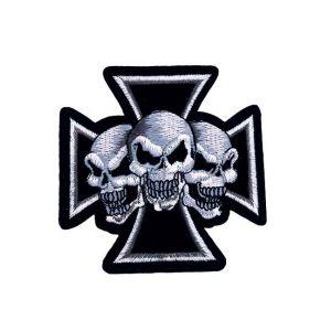 Cross Bones Three Skulls Embroidery Patch