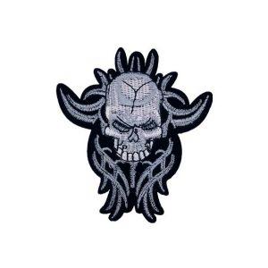 Grey Frightening Demonic Skull Embroidery Patch