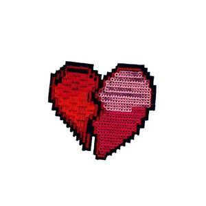 Alluring Broken Red Heart Beads Embroidery Patch