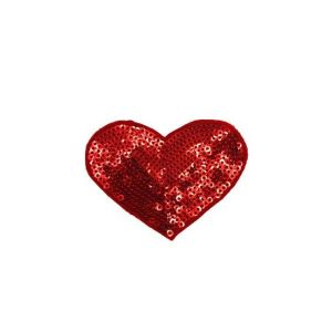 Attractive Red Heart Beads Embroidery Patch