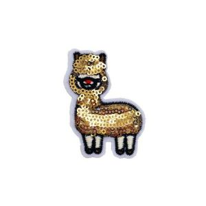 Glistening Gold Sheep Fur Beads Embroidery Patch