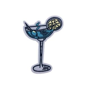 Refreshing Sapphire Martini Drink Embroidery Patch