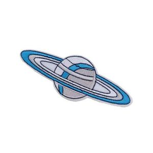 Elegant Blue and Grey Saturn Planet Embroidery Patch