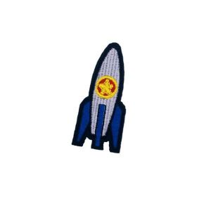 Blue and Grey Spaceship Rocket Embroidery Patch