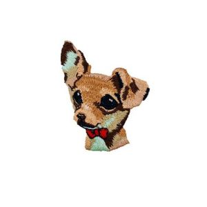 Cute Huge Eyes Puppy Dog Bow Tie Embroidery Patch