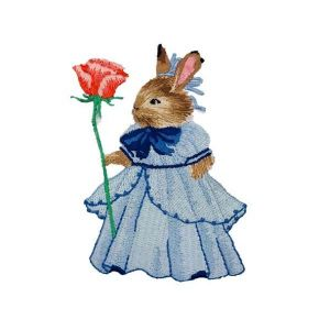 Rabbit Female Rose Victorian Era Dress Embroidery Patch