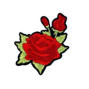 Charming Rosa Ingrid Bergman Flowers Embroidery Patch