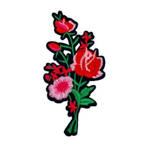 Dazzling Pink and Red Rose Bale Flower Embroidery Patch