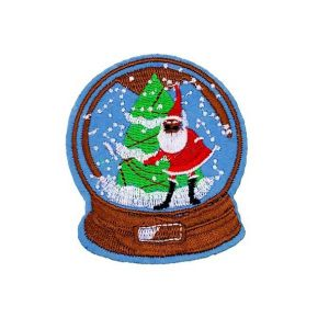 Christmas Santa Claus Tree Snow Globe Embroidery Patch