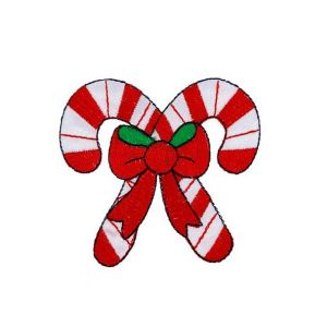 Delectable Red Bow Christmas Candy Embroidery Patch