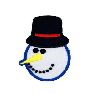 Christmas Snowman Black Hat Yellow Nose Embroidery Patch