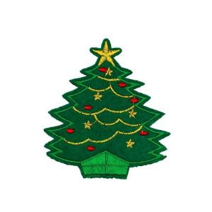 Beguiling Christmas Tree Baubles and Stars Embroidery Patch