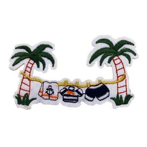Clothesline on Tropical Palm Trees Embroidery Patch
