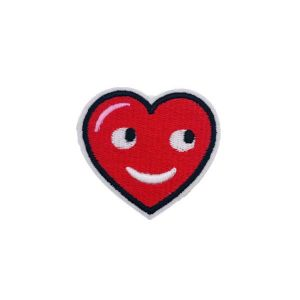 Adorable Smiling Red Heart Embroidery Patch