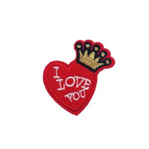 Royal King Crown I Love You Caption Heart Embroidery Patch
