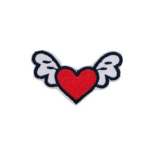 Enamoring Red Heart and Wings Embroidery Patch