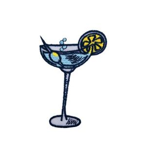 Cool and Refreshing Sapphire Martini Drink Embroidery Patch