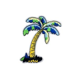 Blue and Green Tropical Beach Palm Tree Embroidery Patch
