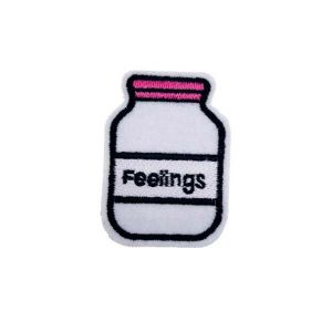 Big Feeling Labeled Jar Pink Cap Embroidery Patch