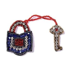 Padlock and Key Beaded Patch