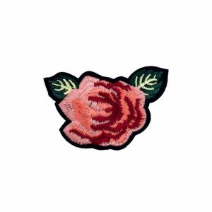 Tea Pink White Rose Iron on Patch