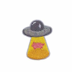 Flying Saucer Pig Embroidered Patch