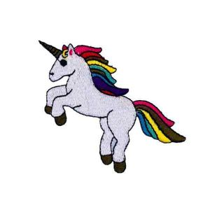 Rainbow Hair Jumping Unicorn Patch