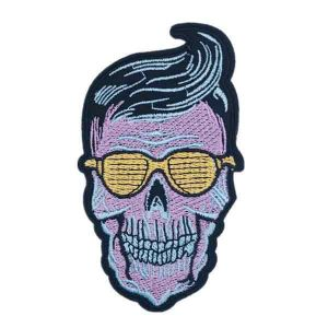 Purple Hipster Large Skull Patch